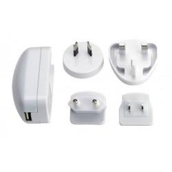 Alimentatore USB 1A da viaggio con spine multiple