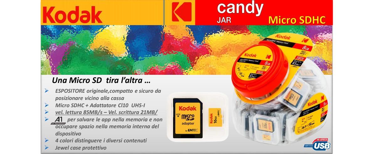 Barattolo Kodak microSDHC 16GB C10 U1 Candy Jar 60pces