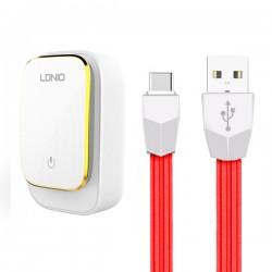 Ldnio Caricatore da muro A4405 4xUSB 4,4A + cavo USB Type C bianco