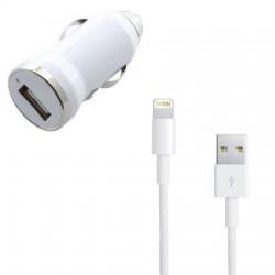 Caricatore da Auto per iPhone 5 Bianco (Caricatore + Cavo Dati Lightning Originale Bulk)