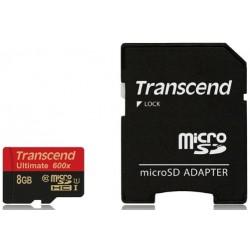 Transcend MicroSd Classe 10 UHS-I (Alta Velocità) 600x (Ultimate) 8GB con Adattatore