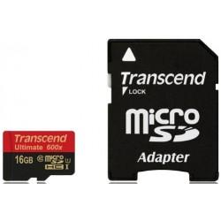 Transcend MicroSd Classe 10 UHS-I (Alta Velocità) 600x (Ultimate) 16GB con Adattatore