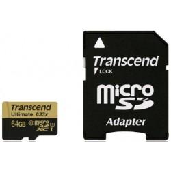 Transcend MicroSd Classe 10 UHS-I Classe3 (Alta Velocità) 633x 64GB con Adattatore
