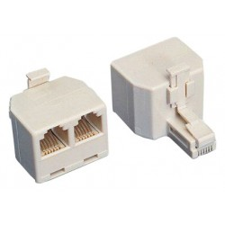 Adattatore telefonico RJ45 1x8 poli maschio 2x8 poli femmina