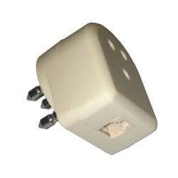 Adattatore telefonico con spina tripolare passante maschio/femmina e presa telefonica 6 poli