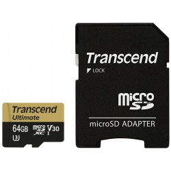 Transcend MicroSD UHS-I U3M (Ultimate) 64GB con adattatore